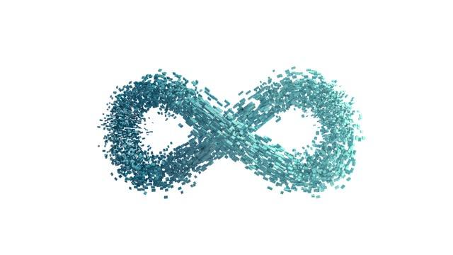 vidéos et rushes de le symbole de l'infini est formé à partir de nombreuses petites particules. - symbole