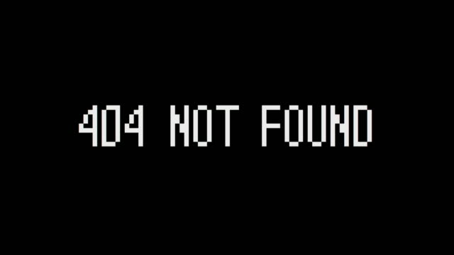 "the inscription ""404 not found"" makes a glitch. system error. motion graphics. - errore video stock e b–roll"