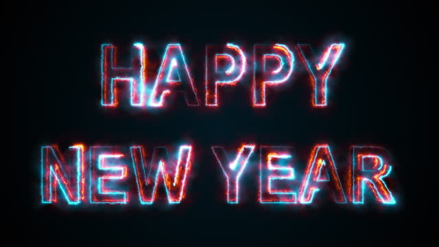 The inscription Happy New Year, computer generated. Burning inscription. Capital letters. 3d rendering congratulatory background