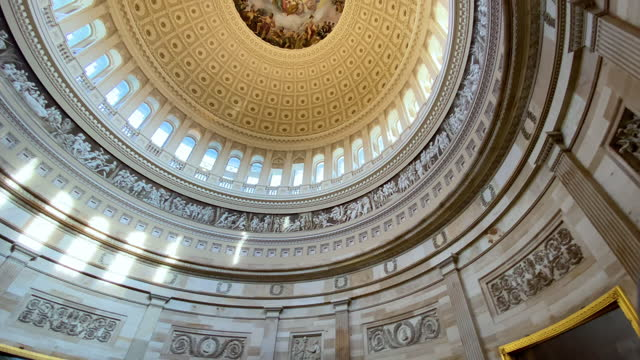 The interior of the dome of the United States Capitol building