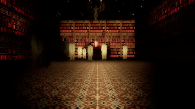 The Interior of the Library of Alexandria in the Lecture Hall Slow Zoom In video