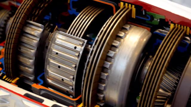 den interna strukturen av automatlåda - växelspak bildbanksvideor och videomaterial från bakom kulisserna