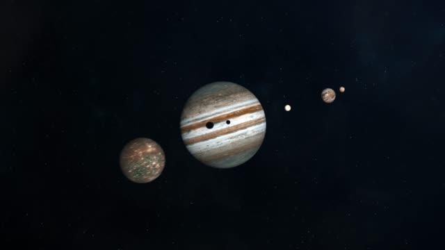 jovian księżyce tranzytu przez powierzchnię jowisza - io księżyc filmów i materiałów b-roll
