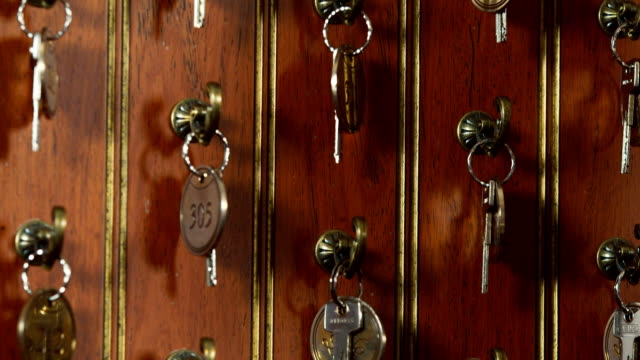 The keys to the rooms in the hotel video