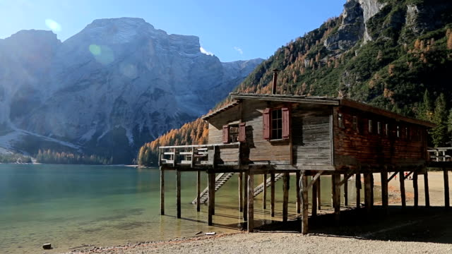 The Lake Braies with the Seekofel mountain in the Dolomite Mountains, Italy video