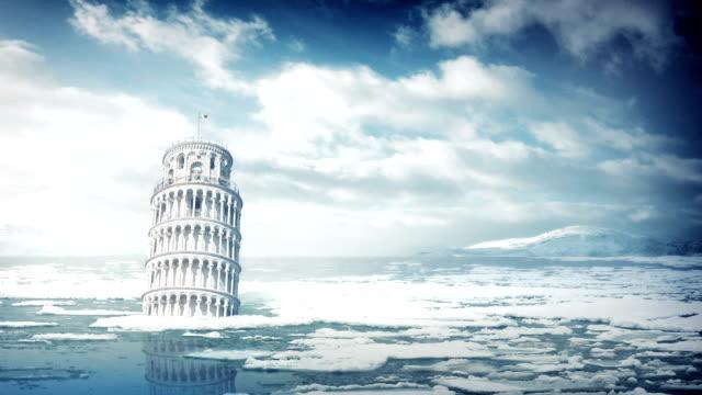 la torre pendente di pisa in oceano - pisa video stock e b–roll