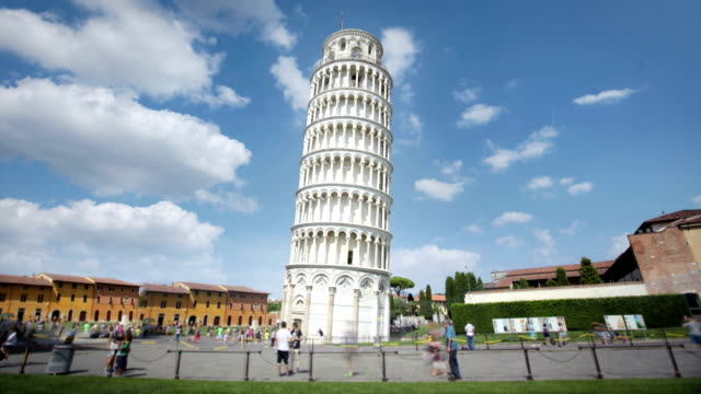 the leaning tower of pisa, tuscany, italy - 塔 個影片檔及 b 捲影像