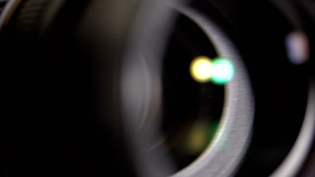 The lens of the camera. Close-up video