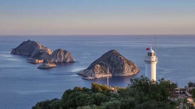 The lighthouse on Cape Gelidonia in Turkey on the tourist route Lycian way. 4k timelapse.