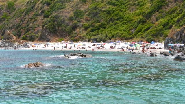 the little beach called paradiso dei sub of calabria - tropea video stock e b–roll