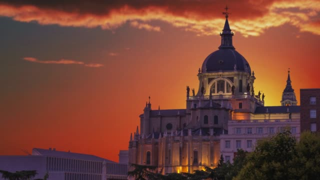the majestic dome of the almudena cathedral in madrid. spain - madrid video stock e b–roll