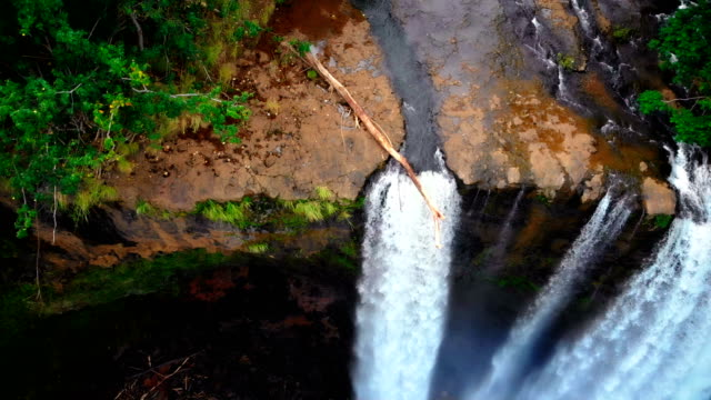 The majesty of Wailua Falls on the island of Kauaii, Hawaii Soar over the majesty of Wailua Falls on the island of Kauaii, Hawaii oahu stock videos & royalty-free footage
