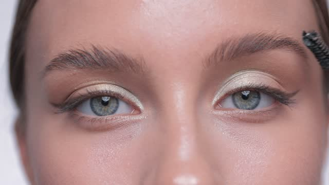 The make-up artist combs the eyebrows and makes the styling of the eyebrows with a gel. The make-up artist combs the eyebrows and makes the styling of the eyebrows with a gel. eyelash stock videos & royalty-free footage