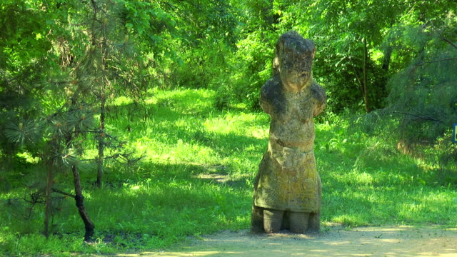 The male figure Scythian statue in the forest video
