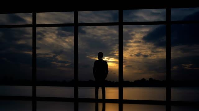 the male standing near windows on the sundown background. time lapse - man look sky scraper video stock e b–roll