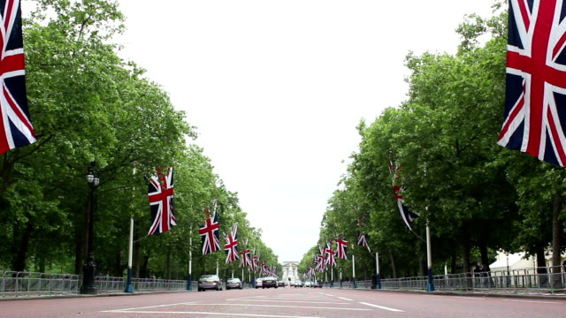 The Mall, London lined with Union Flags video