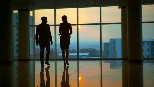 The man and a woman walking in the office hall. slow motion The man and a woman walking in the office hall. slow motion silhouette people stock videos & royalty-free footage