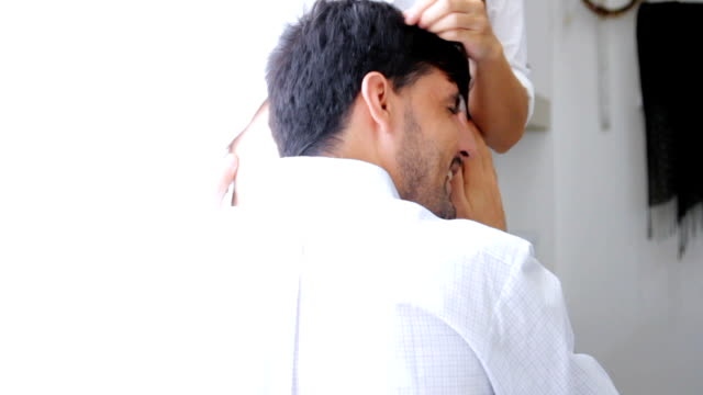 The man listening the belly of his pregnant wife.HD format. video
