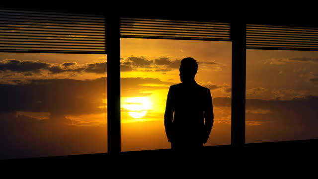 the man stand near a window on the bright sun background. time lapse - man look sky scraper video stock e b–roll