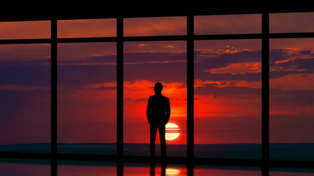 the man standing near panoramic windows on the sunset background. time lapse - man look sky scraper video stock e b–roll