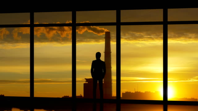 the man standing near windows on the industrial city background - man look sky scraper video stock e b–roll