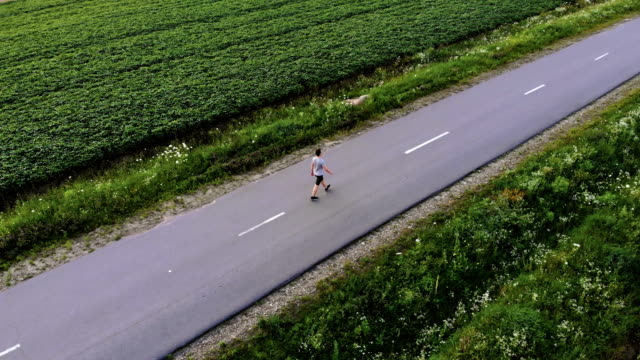 the man walking on the road near fields. quadrocopter shot - pedone ruolo dell'uomo video stock e b–roll