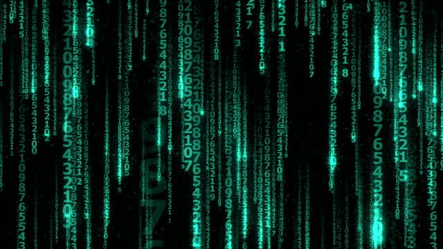 vídeos y material grabado en eventos de stock de muchas sin caer líneas dígitos en el ciberespacio-seamless lazo - número