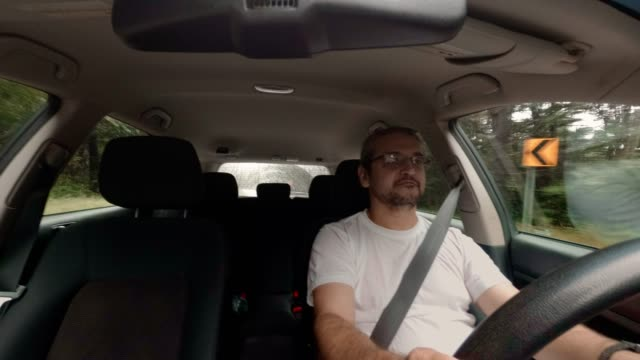 The mature handsome 45-years-old Caucasian man driving the car