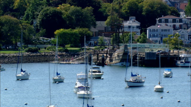 the Mayflower  - Aerial View - Massachusetts,  Plymouth County,  United States video