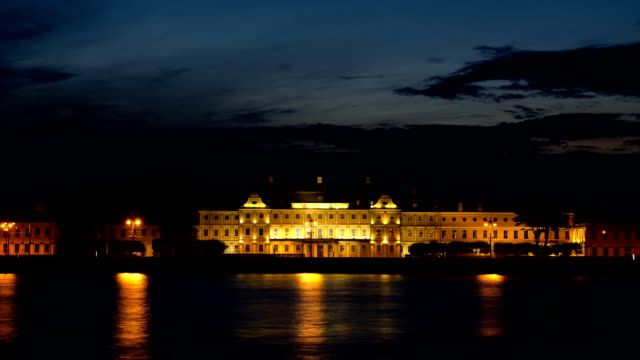 The Menshikov Palace at night in St. Petersburg, Russia video