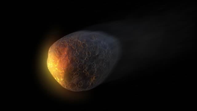 vídeos y material grabado en eventos de stock de el meteorito cae rápidamente sobre un fondo negro, escena gráfica de movimiento de renderizado 3d con alfa en la sección final. - impacto