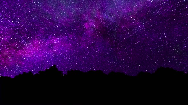 The Milky Way Appears From Behind The Trees. Perseid Meteor Shower Bristlecone Milky Way Timelapse. Night sky animation