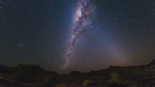 The Milky Way in Namibia, time lapse The apparent rotation of an outstandingly bright Milky Way and starry sky beyond the mountains of the Namib desert, Namibia. Time Lapse. namibia stock videos & royalty-free footage