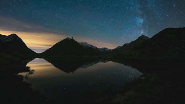 The Milky Way on the Alps, time lapse