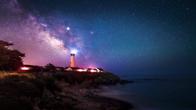 the milky way passing over over pigeon point lighthouse in pescadero, california, usa - leuchtturm stock-videos und b-roll-filmmaterial