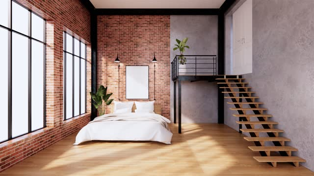 The Modern loft Bedroom interior with Computer and office tool on desk. 3D rendering