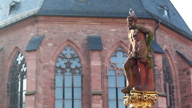 the monument in Marktplatz heildelberg germany:here is public place video