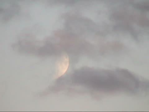 (pal) la luna e nuvole - campo gravitazionale video stock e b–roll