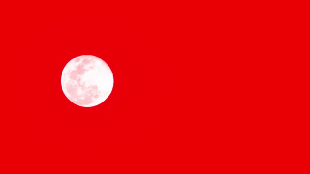 The moon on red background. video