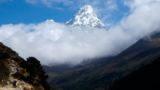 The movement of clouds over the mountain Ama Dablam video