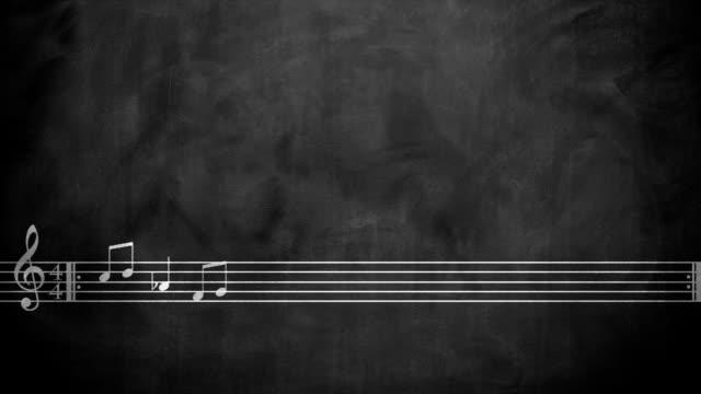 vídeos de stock e filmes b-roll de notas musicais no quadro negro animação - compositor