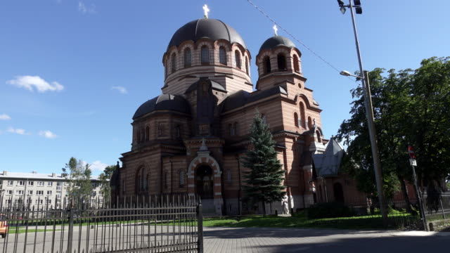 The Narva Cathedral of the Resurrection of Christ (Cathedral of Revival hristovy) - the temple of the Estonian orthodox church of the Moscow Patriarchy in the city of Narva. Estonia. video