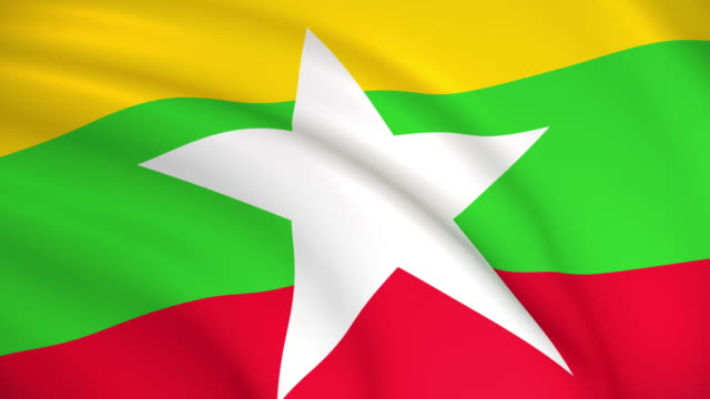 bandiera del myanmar (birmania) - naypyidaw video stock e b–roll