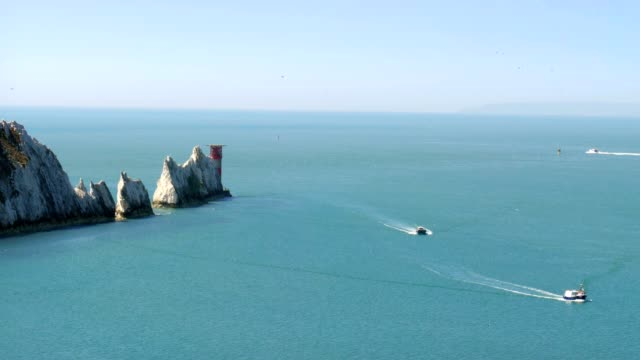 The Needles rock formation on the Isle Of Wight England UK Europe video