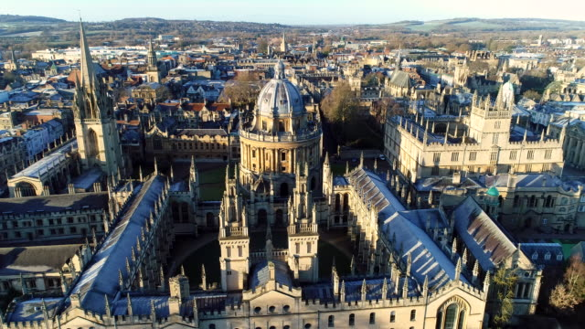 The New Oxford City Skyline Aerial Video Shoot by Dji Inspire neo gothic architecture stock videos & royalty-free footage