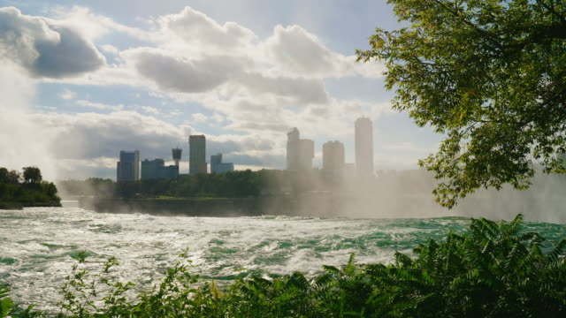 The Niagara River in front of the waterfall. It is visible the Canadian coast with buildings of hotels and the entertaining centers for touris video