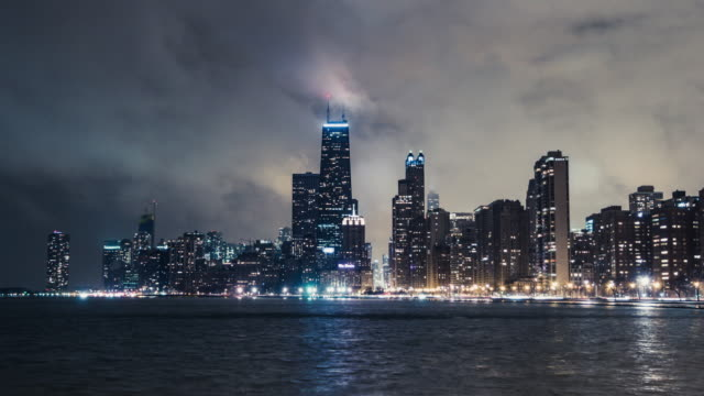 T/L WS TU The Night View of Chicago in fog at Night The Night View of Chicago in fog at Night chicago stock videos & royalty-free footage