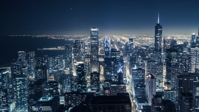 t/l ha pan the night view of chicago - chicago architecture stock videos & royalty-free footage