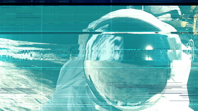 The noise of the TV and Glitch with an astronaut video