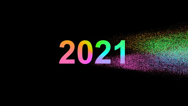 The number 2020 crumbles into many colored particles and flies away and leaves the new number 2021 as a symbol of the new year